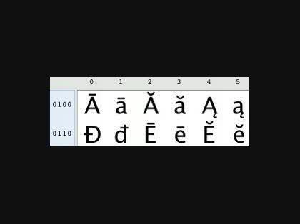 文字ではうまく出ないようなので、文字コード表の一部のスクリーンショットを貼っておきます。