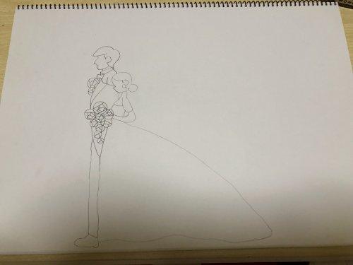 ウェディングイラストメッセージを 描くことになったのですが 少し描い