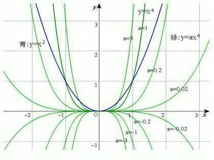 4乗のグラフ ,2乗のグラフは学校で習いました。4乗のグラフは
