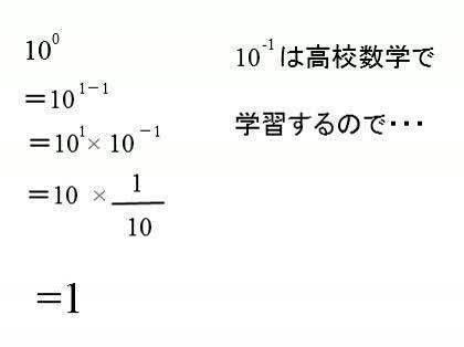 10の0乗が1である仕組みを教えて...