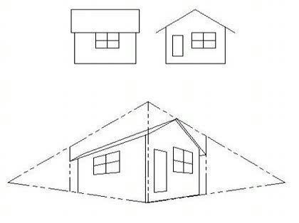 「2点透視で一軒家を描く時屋根の角度が違う」の