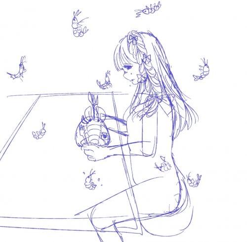 イラストの添削 赤ペン お願いします エビを食べながら泣いてる 美術 アート 教えて Goo