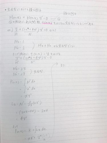 微分方程式です。 両辺にyをかけ...