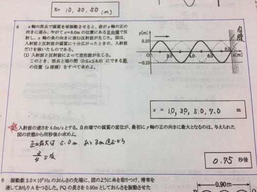 ⑵入射波の速さを4.0メートル毎秒...
