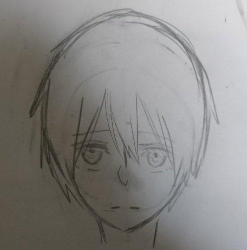 正面顔のイラストが左右対称に描けません 写真を見ていただければお分