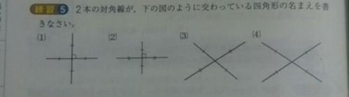 2本の対角線が下の図のように交わっている四角形の名前を書き